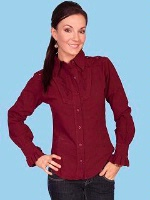 ZSold Scully Ladies' Cantina Collection Blouse: Long Sleeve w Yoke Burgundy M SOLD