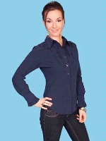 ZSold Scully Ladies' Cantina Collection Shirt: Long Sleeve w Yoke Navy SOLD