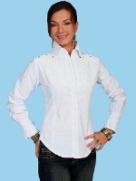 ZSold Scully Ladies' Cantina Collection Shirt: Long Sleeve w Yoke White XL SOLD