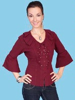 ZSold Scully Ladies' Cantina Collection Shirt: Bell Elbow Sleeve Burgundy XS-L SOLD
