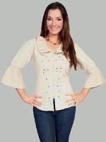 ZSold Scully Ladies' Cantina Collection Shirt: Bell Elbow Sleeve Khaki SOLD
