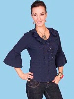 ZSold Scully Ladies' Cantina Collection Shirt: Bell Elbow Sleeve Navy SOLD