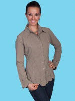ZSold Scully Ladies' Cantina Collection Blouse: Long Sleeve Bell Scallop Bottom Tunic Olive SOLD