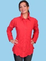 ZSold Scully Ladies' Cantina Collection Blouse: Long Sleeve Bell Scallop Bottom Tunic Vermilion SOLD