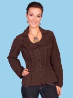 ZSold Scully Ladies' Cantina Collection Jacket: Ruffle Collar Chocolate XL SOLD