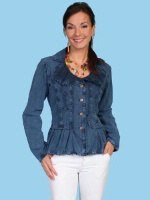 ZSold Scully Ladies' Cantina Collection Jacket: Ruffle Collar Dark Blue XS-L SOLD