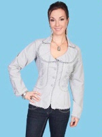 ZSold Scully Ladies' Cantina Collection Jacket: Ruffle Collar Light Grey XS-S, L-XL SOLD