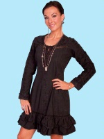 ZSold Scully Ladies' Cantina Collection Duster: Duster w Ruffle Hem Black XS, L-XL SOLD SALE