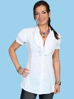 ZSold Scully Ladies' Cantina Collection Blouse: Short Sleeve with Ruffle White M SOLD