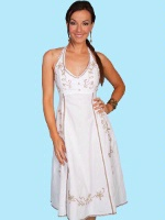 ZSold Scully Ladies' Cantina Collection Dress: A Halter Style Crochet Trim White XS-2XL SOLD