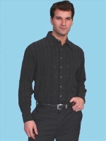 ZSold Scully Men's Western Shirt: Western Lifestyle Silk Black SOLD
