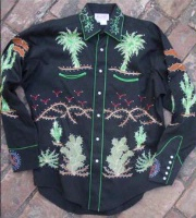 Rockmount Ranch Wear Ladies' Vintage Western Shirt: Fancy Palm Trees & Wagon Wheels Black S-XL