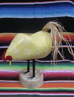 Navajo Folk Art: Edith John Chicken Pecking Medium Yellow SHIPS NOW
