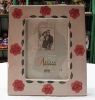 A Picture Frame: Ceramic Pink w Flowers