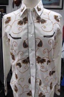 ZSold Rockmount Ranch Wear Ladies' Vintage Western Shirt: Floral Brown on Ivory S SOLD