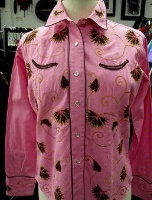 ZSold Rockmount Ranch Wear Ladies' Vintage Western Shirt: Floral Pink M SOLD