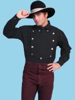 Scully Men's Old West Shirt: Rangewear Cotton Bib Black S-2X Big/Tall 3X-4X