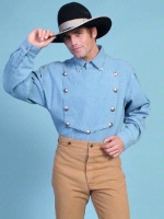 Scully Men's Old West Shirt: Rangewear Cotton Bib Denim S-2X Big/Tall 3X-4X