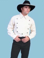 Scully Men's Old West Shirt: Rangewear Cotton Bib Natural S-2X Big/Tall 3X-4X