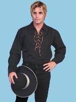 Scully Men's Old West Shirt: Rangewear Cotton Pullover Lacing Black Backordered