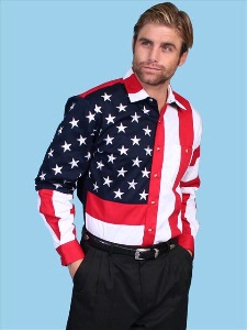 Scully Men's Vintage Western Shirt: The Patriot Stars and Stripes