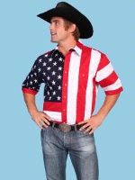 Scully Men's Vintage Western Shirt: The Patriot Stars and Stripes Short Sleeve S-2X Big/Tall 3X-4X