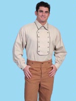 ZSold Scully Men's Old West Shirt: Rangewear Cotton Narrow Bib Tan S-2X SOLD