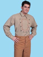 ZSold Scully Men's Old West Shirt: Rangewear Cotton Embroidered Bib Tan S-L, 2X SOLD