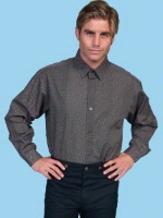 ZSold Scully Men's Old West Shirt: Rangewear Cotton Fold Down Collar Charcoal  3X SOLD