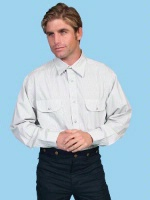 ZSold Scully Men's Western Shirt: Rangewear Cotton Fold Down Collar Taupe S-4X SOLD