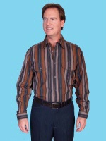 ZSold Scully Men's Old West Shirt: Rangewear Cotton Fold Down Collar Stripe S-4XL SOLD