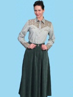 ZSold Scully Ladies' Old West Pant Skirt: Rangewear Riding Split Skirt Polyester Hunter Green SOLD