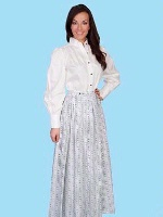 ZSold Scully Ladies' Old West Skirt: Rangewear Prairie Style White Print S-2XL SOLD