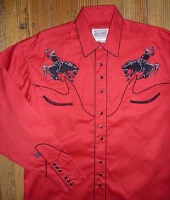 ZSold Rockmount Ranch Wear Men's Vintage Western Shirt: Fancy Stylized Yoke and Bronc Red S-XL SOLD