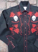 Rockmount Ranch Wear Men's Vintage Western Shirt: Fancy Skulls and Roses Red on Black 2X and Talls