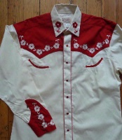 Rockmount Ranch Wear Men's Vintage Western Shirt: Fancy Elvis Cream and Red Sings Teddy Bear S-XL