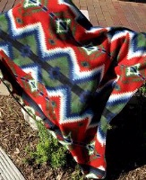 ZSold Rockmount Ranch Wear Blanket: Classic Native American Design Diamond Red and Navy SOLD