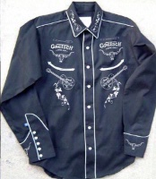 Rockmount Ranch Wear Men's Vintage Western Shirt: Gretsch Guitar Black Backordered