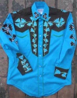 Rockmount Ranch Wear Men's Vintage Western Shirt: Fancy Two Tone Turquoise Blue and Brown S-XL