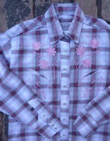 ZSold Rockmount Ranch Wear Ladies' Vintage Western Shirt: A Shadow Plaid w Floral Embroidery Pink S-XL SOLD