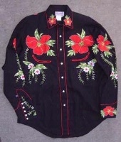 Rockmount Ranch Wear Men's Vintage Western Shirt: Fancy Hawaiian Hibiscus Black S-XL