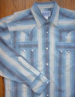 ZSold Rockmount Ranch Wear Ladies' Western Shirt: Blue Hombre Stripe 2XL SOLD