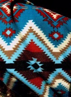 ZSold Rockmount Ranch Wear Blanket: Classic Native American Design Diamond Turquoise Red Brown SOLD