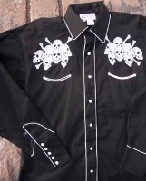 Rockmount Ranch Wear Men's Vintage Western Shirt: Fancy Skulls Lucky Seven