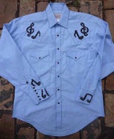 ZSold Rockmount Ranch Wear Men's Vintage Western Shirt: Fancy Music Notes Black on Chambray S-XL SOLD