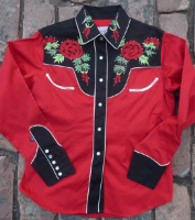 Rockmount Ranch Wear Men's Vintage Western Shirt: Fancy Flowers 2 Tone Nashville Rose Red and Black