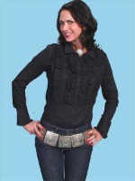 ZSold Scully Ladies' Old West Blouse: The Ruffle Front Black S-L SOLD
