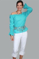 ZSold Scully Ladies' Honey Creek Collection Blouse: The Steampunk Peasant Ruffle Turquoise S-XL SOLD