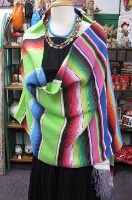 Sarape Girl: Wrap or Shawl Saltillo Serape Lime