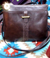 Scully Leather Shoulder Bag: Compact Wallet on a Strap Brown, Dark Brown, Black